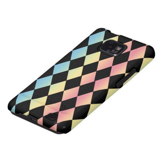 Checkmate-Black with Multi-Pastel Background Galaxy SII Cover