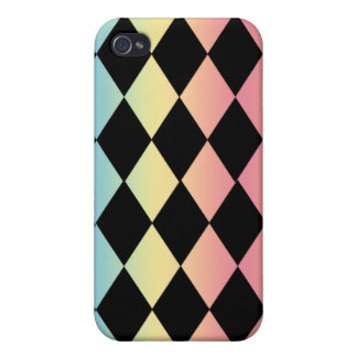 Checkmate-Black with Multi-Pastel Background iPhone 4/4S Case