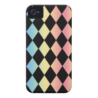 Checkmate-Black with Multi-Pastel Background iPhone 4 Case