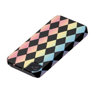 Checkmate-Black with Multi-Pastel Background iPhone 4 Cover