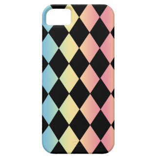 Checkmate-Black with Multi-Pastel Background iPhone SE/5/5s Case