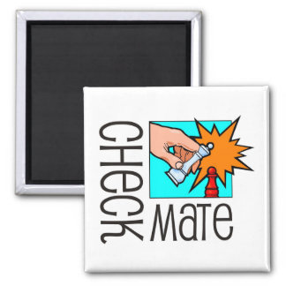 Checkmate! Chess pieces (brainy board game) 2 Inch Square Magnet
