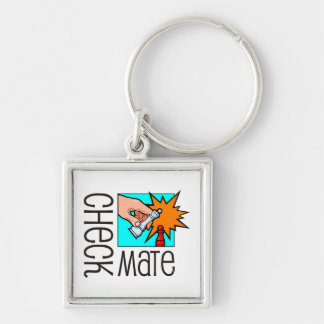 Checkmate! Chess pieces (brainy board game) Silver-Colored Square Keychain
