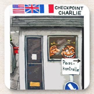 Checkpoint Charlie,Berlin, Cartoon (ct) Beverage Coaster