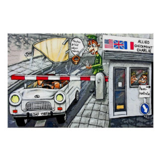 Checkpoint Charlie, Berlin, Cartoon (Large) Poster
