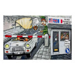 Checkpoint Charlie, Berlin, Cartoon (Large) Print