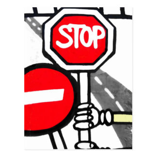 Checkpoint Charlie,Berlin Wall, Stop Sign Postcard
