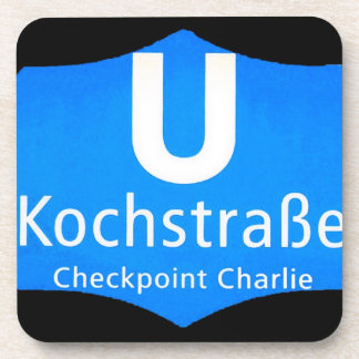 Checkpoint Charlie, Kochstrabe, UBahn, Blue,/Blk Drink Coaster