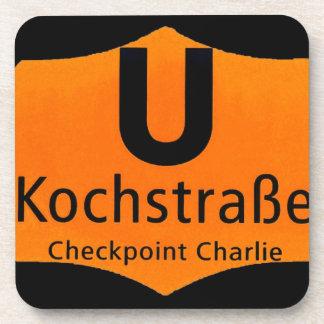 Checkpoint Charlie, Kochstrabe, UBahn, Orange,/Blk Drink Coasters
