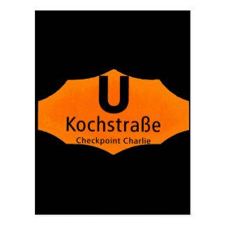 Checkpoint Charlie, Kochstrabe, UBahn, Orange,/Blk Postcards