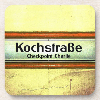 Checkpoint Charlie, Kochstrabe, Yellow and Orange Drink Coaster