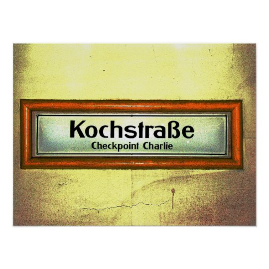 Checkpoint Charlie, Kochstrabe, Yellow and Orange Poster