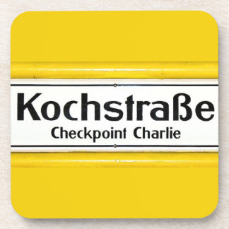 Checkpoint Charlie, Kochstrabe, Yellow Border Beverage Coasters