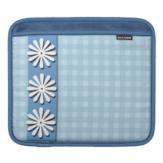 Checks and Flowers-Blue and White iPad Sleeve
