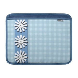 Checks and Flowers-Blue and White MacBook Sleeve