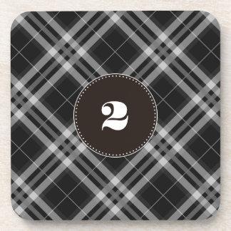 Checks in Black and White Coaster