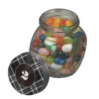Checks in Black and White Jelly Belly Candy Jar