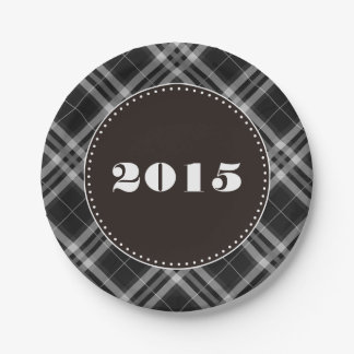 Checks in Black and White Paper Plate
