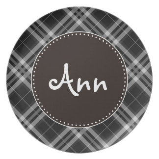 Checks in Black and White Plate