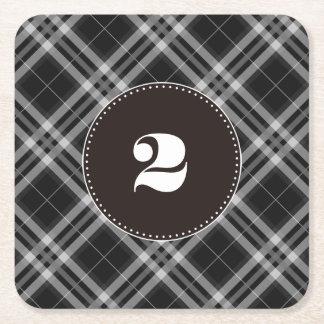 Checks in Black and White Square Paper Coaster