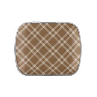 Checks in brown and tan tartan candy tin