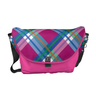 Checks Messenger Bag in Pink and Blue