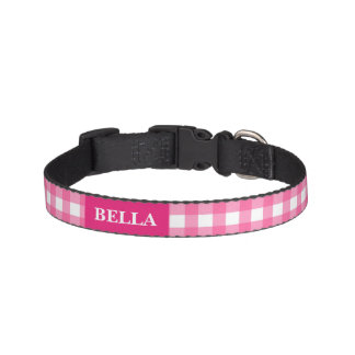 Checks pink white custom name collar for dogs