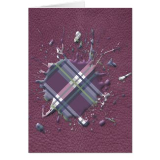 Checks Splatter on Leather Texture Cherry and Wine Greeting Card