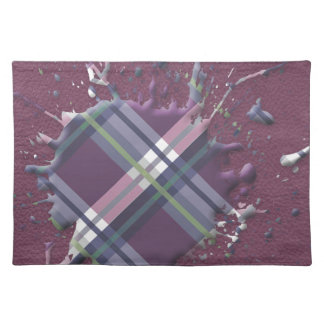 Checks Splatter on Leather Texture Cherry and Wine Cloth Placemat
