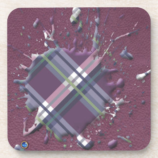 Checks Splatter on Leather Texture Cherry and Wine Drink Coaster
