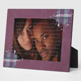 Checks Splatter on Leather Texture Cherry and Wine Plaque