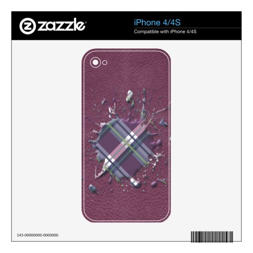 Checks Splatter on Leather Texture Cherry and Wine Decal For iPhone 4S