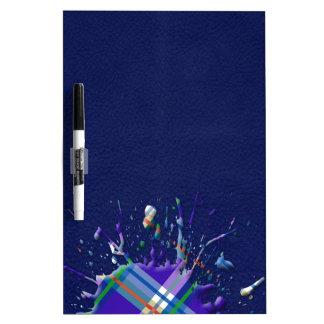 Checks Splatter on Leather Texture - Dark Blue Dry-Erase Board