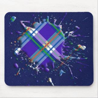 Checks Splatter on Leather Texture - Dark Blue Mouse Pad