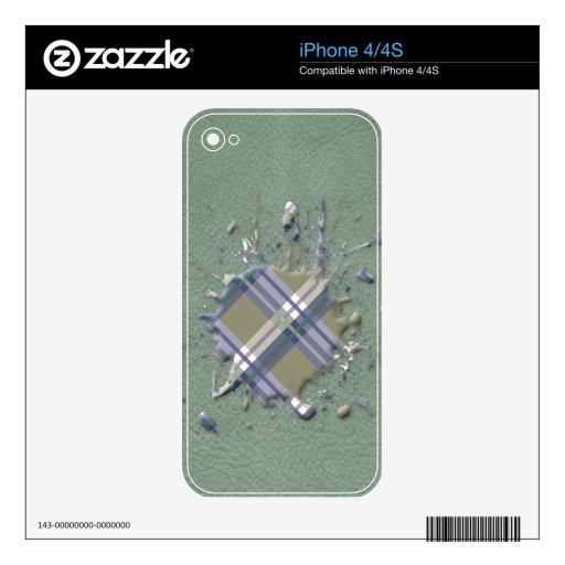 Checks Splatter on Leather Texture - Mint & Khaki Decals For iPhone 4S