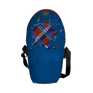 Checks Splatter on Leather Texture Red Royal Blue Courier Bag