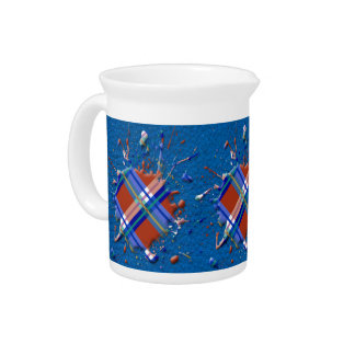 Checks Splatter on Leather Texture Red Royal Blue Drink Pitcher