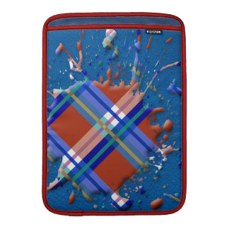 Checks Splatter on Leather Texture Red Royal Blue MacBook Sleeve