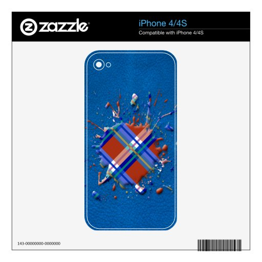 Checks Splatter on Leather Texture Red Royal Blue Skins For iPhone 4
