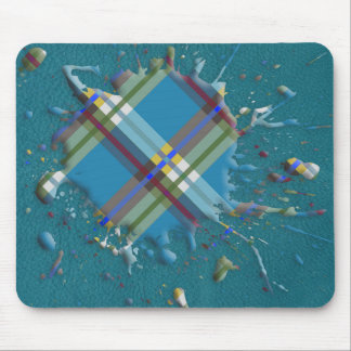 Checks Splatter on Leather Texture -Till Turquoise Mouse Pad