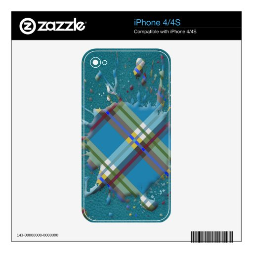 Checks Splatter on Leather Texture -Till Turquoise Decals For The iPhone 4