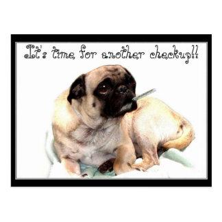 Checkup pug veterinarian reminder postcard