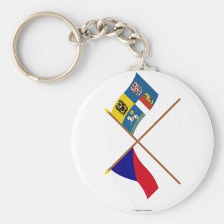 Checo y banderas cruzadas Moravia-Silesia Llavero