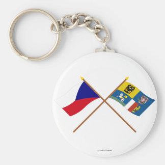 Checo y banderas cruzadas Moravia-Silesia Llaveros
