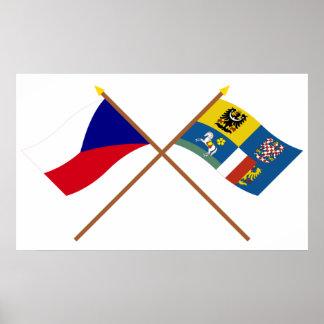 Checo y banderas cruzadas Moravia-Silesia Póster