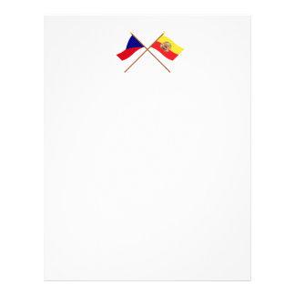 Checo y banderas cruzadas Praga Membrete Personalizado
