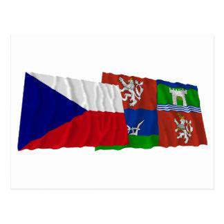 Checo y banderas que agitan de Usti nad Labem Postales