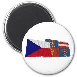 Checo y banderas que agitan del sur de Moravia Imán Redondo 5 Cm