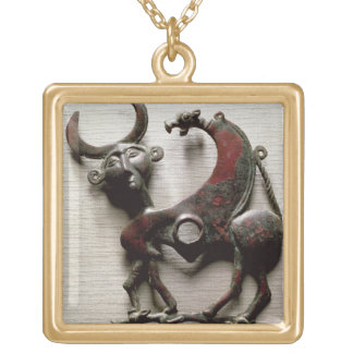 Cheek piece of a horse bit in the form of a human- square pendant necklace