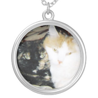 Cheek to Cheek Cats Round Pendant Necklace